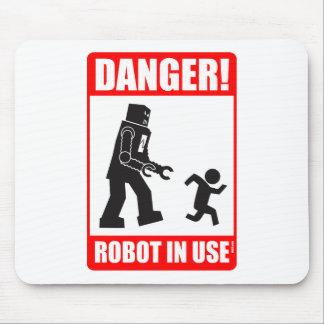 Danger! Robot in Use Mousepad