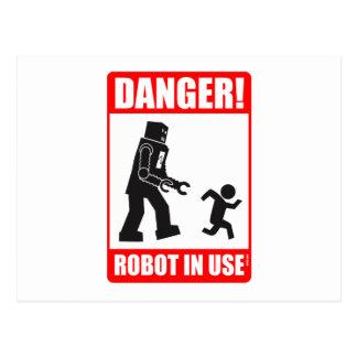 Danger! Robot in Use Postcard