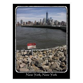 Danger Rocks New York skyline with border Postcard