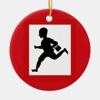 Danger Running Children, Traffic Sign, India Double-Sided Ceramic Round Christmas Ornament