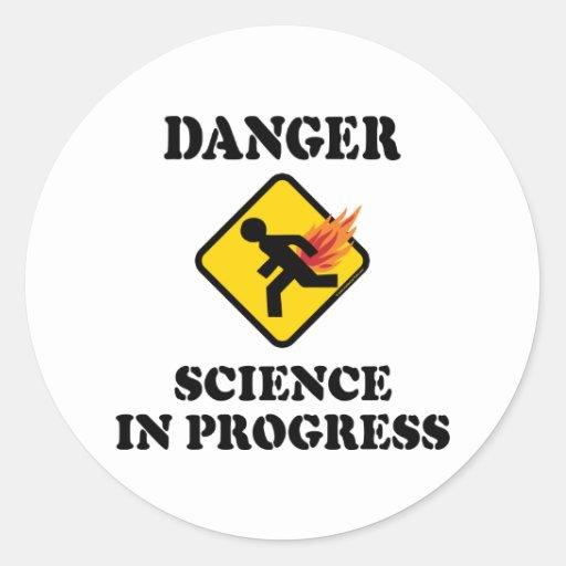 Danger Science in Progress Fart Humor Classic Round Sticker