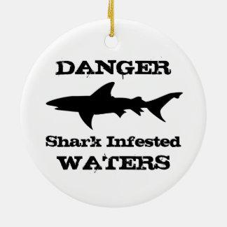 Danger: Shark Infested Waters Funny Shark Outline Ceramic Ornament