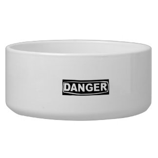 Danger Sign Dog Water Bowl