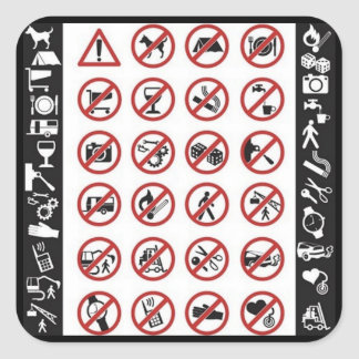 Danger Signs (3) Square Sticker
