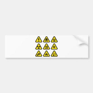 Danger signs bumper sticker