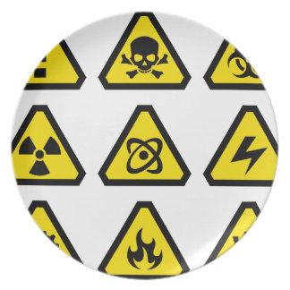 Danger signs melamine plate