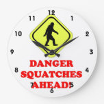Danger Squatches ahead Round Wall Clock