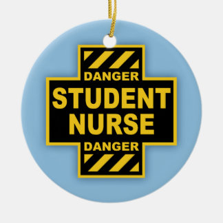 Danger Student Nurse Double-Sided Ceramic Round Christmas Ornament