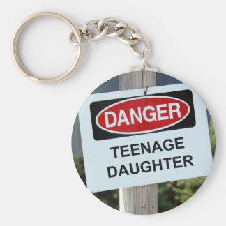 Danger Teenage Daughter Sign Keychain