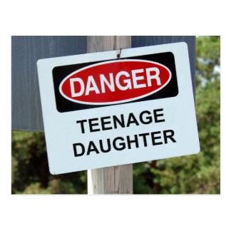 Danger Teenage Daughter Sign Post Cards