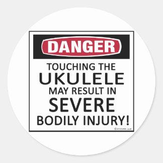 Danger Ukulele Classic Round Sticker