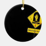 Danger Walking Zombies Double-Sided Ceramic Round Christmas Ornament
