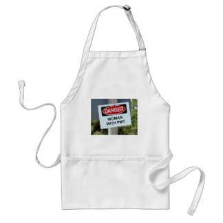 Danger Woman With PMT Sign Adult Apron