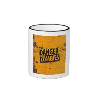 Danger : Zombie Warning Sign Mugs
