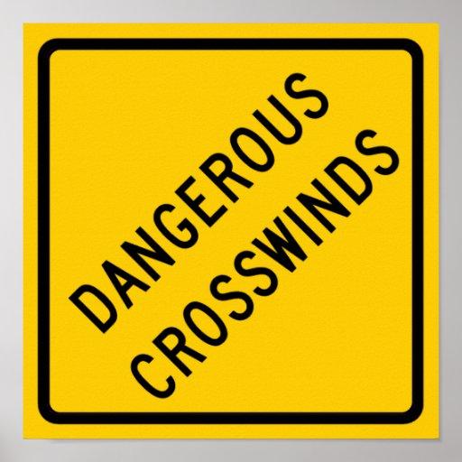 Dangerous Crosswinds Highway Sign Poster