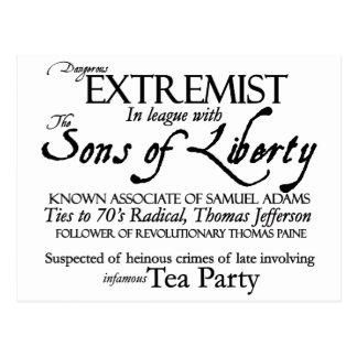 Dangerous Extremist: 18 th Century Style Poster Postcard