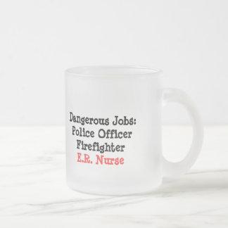 Dangerous Jobs-E.R. Nurse 10 Oz Frosted Glass Coffee Mug