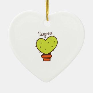 Dangerous Double-Sided Heart Ceramic Christmas Ornament