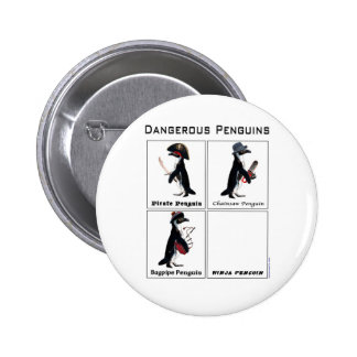 dangerous penguins 2 inch round button