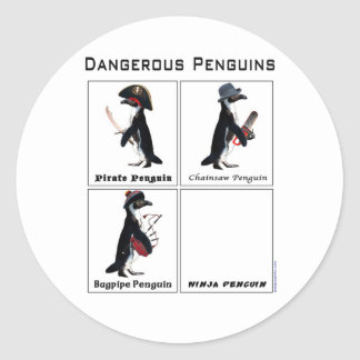 dangerous penguins classic round sticker