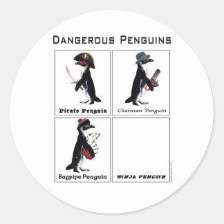 dangerous penguins classic round sticker