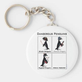dangerous penguins basic round button keychain