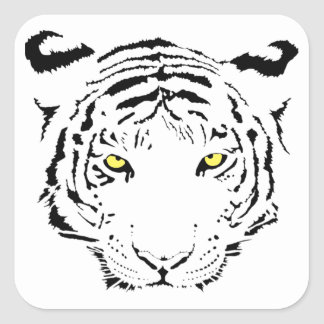 Dangerous, scary yellow eyes Tiger Square Sticker