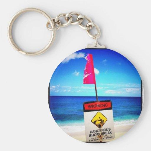 Dangerous shorebreak Photo by Daniela Power Basic Round Button Keychain