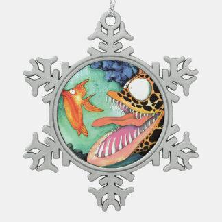"""Dangerous Waters"" Fish Watercolor Mike Quinn Snowflake Pewter Christmas Ornament"