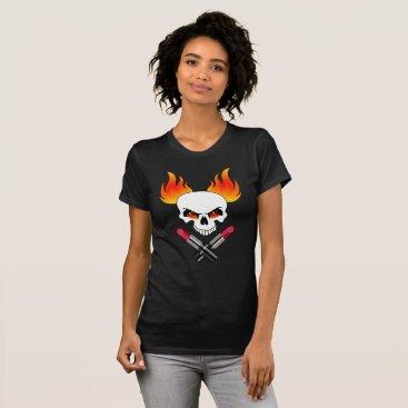 Halloween Themed Dangerous Woman Flaming Skull Lipstick T-Shirt