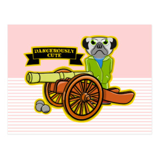 Dangerously Cute Pug Dog Postcard