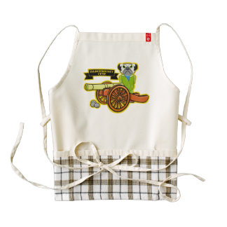 Dangerously Cute Pug With A Cannon Zazzle HEART Apron