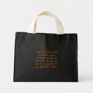 Dangers of online dating (an alien) mini tote bag