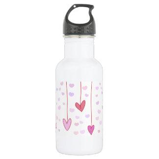 Dangling Pink Hearts Water Bottle