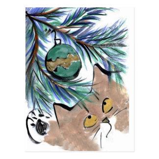 Dangling temptation, Christmas Ornament & Kitty Postcard