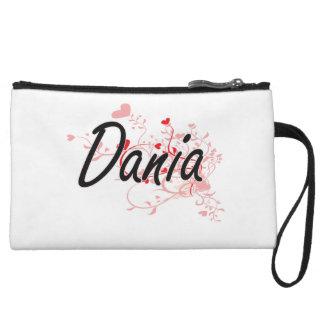 Dania Artistic Name Design with Hearts Wristlet Purses