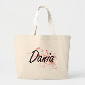 Dania Artistic Name Design with Hearts Jumbo Tote Bag