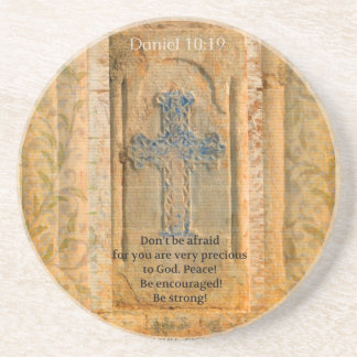 Daniel 10:19 Bible Verse about Discouragement Sandstone Coaster