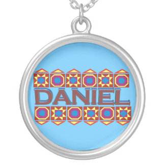 Daniel Abstract art southwestern light blue Round Pendant Necklace