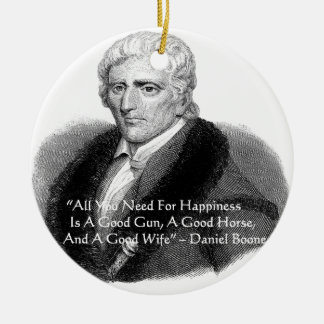 Daniel Boone Humor Quote Gifts Tees Cards Etc Double-Sided Ceramic Round Christmas Ornament