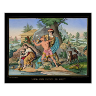Daniel Boone protege a su familia 1840 Impresiones