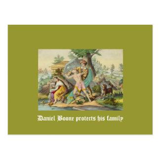 Daniel Boone protege a su familia Tarjetas Postales