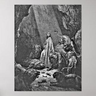 Daniel en el ejemplo bíblico de la guarida del leó póster