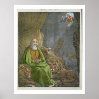 Daniel en la guarida de los leones, de una biblia  póster
