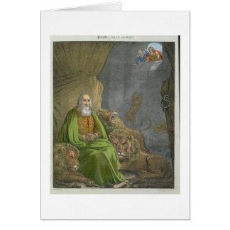 Daniel en la guarida de los leones, de una biblia  tarjeton