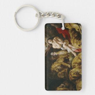 Daniel en la pintura de Peter Paul Rubens de la Llavero Rectangular Acrílico A Doble Cara
