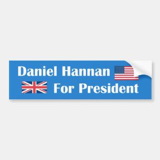 Daniel Hannan para el presidente pegatina para el  Pegatina De Parachoque