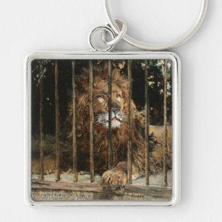 Daniel Hernández Morillo: En la jaula del león Llavero Cuadrado Plateado