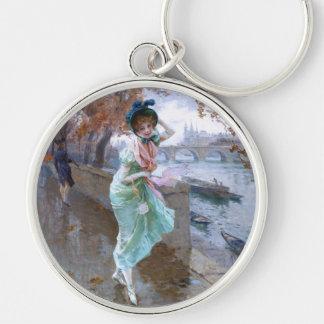 Daniel Hernández Morillo: Parisian Girl Silver-Colored Round Keychain