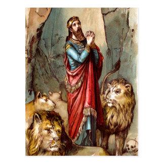 Daniel in the lion`s den postcard